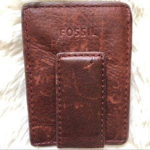 Fossil Dark Brown Leather Money Clip Wallet